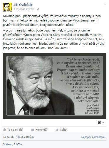 Screenshot falešného účtu Jiřího Ovčáčka
