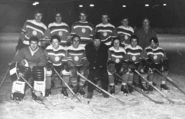 1972-muži-účastník divize - Slavná sestava losinského hokeje, která se stala dvakrát přeborníkem kraje a nakonec se probojovala i do divize ledního hokeje – 3. nejvyšší domácí soutěže té doby. Soupeři byli většinou nad naše síly (Dukla Příbram – Losiná 18:1), ale v druhé části divizní soutěže ročníku 1972-73 jsme zabojovali a nakonec v dramatickém závěru poslali do sestupu TJ Hlubokou. Druhý rok v divizi byl ale již náš poslední.  Na snímku ještě chybí brankáři Šlouf a Mošna, Zdeněk Netrh, Milouš Štěpán, Šamlot, Ota Rejč, Hurt, Hrádek, Pepík  Kapoun a další.  horní zleva: Laštovka Láďa, Holub Honza, Kreuzman Jarda, Časta Bohouš, Rádl Vojta, Fremr Olda dolní zleva: Bešta Venca, Kosnar Jarda, Beníšek Honza, trenér Brož Jirka, Šilháb Karel, Huml Míla, Pašek Zdeněk