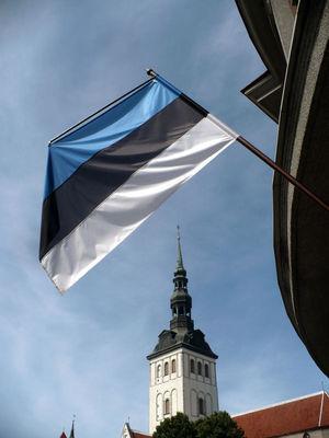Estonská vlajka má nezvyklé barvy, které v tomhle prostředí dávají perfektní smysl