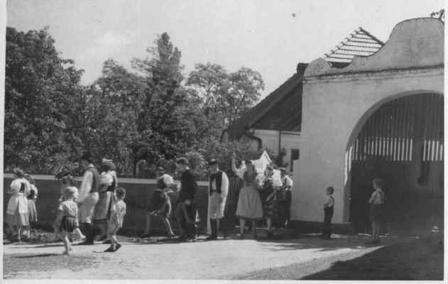 1960 - staročeské máje před statkem u Rousů - 1960 - staročeské máje před statkem u Rousů