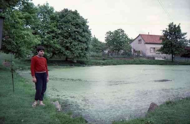 1977 ? - rybník na Bambousku - cca 1977 Libor Batěk u rybníka na Bambousku plného bažince
