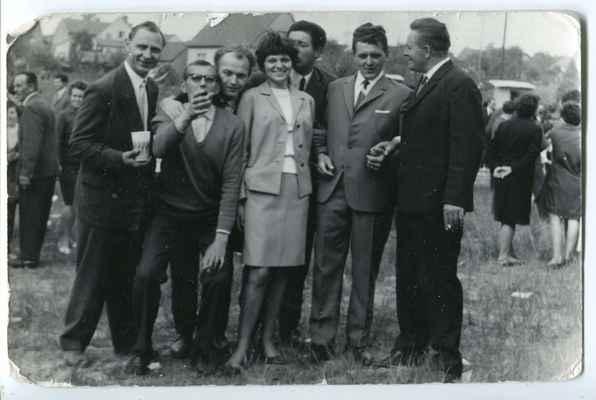 otevření koupaliště - Strecker, Honza Levý, x, Jana a Pepík Černých, x,Zdislav Havel