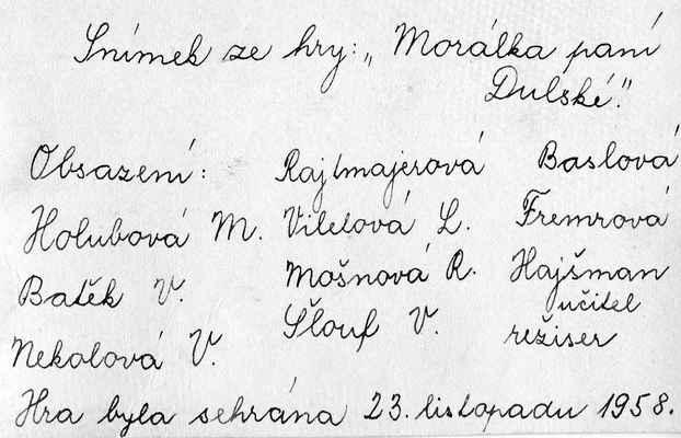 1958 - divadelní hra  Morálka paní Dulské - obsazení